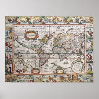 Antik världskartaaffisch poster