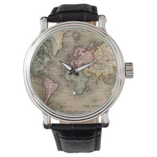 antik världskartaklocka armbandsur