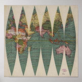 Antik världskartaRand McNally 1891 Print