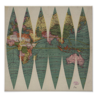 Antik världskartaRand McNally 1891 Poster