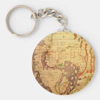 Antik världskartor rund nyckelring