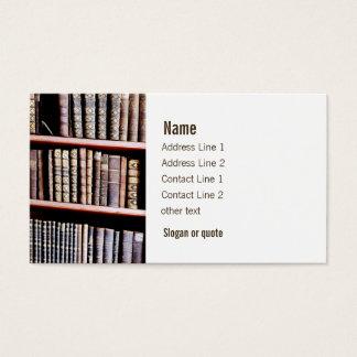Antika bokar bordlägger på visitkort