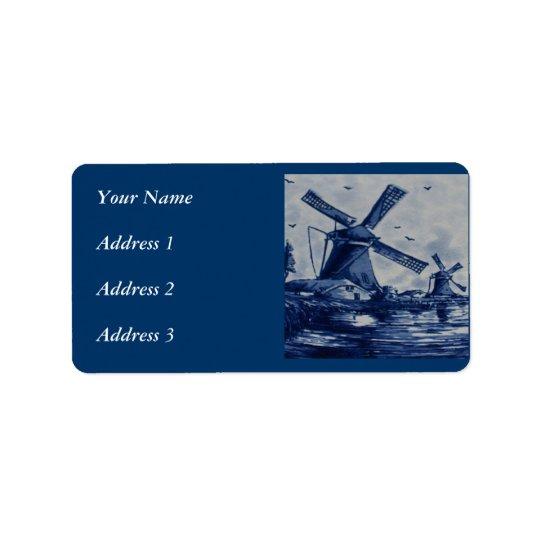Antika Delft blått belägger med tegel - Windmills Adressetikett