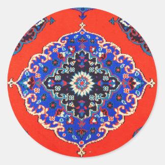 Antika turkiska textilar mattar mattor Kilims Runt Klistermärke