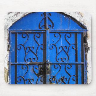 Antika vintageblått stålsätter dörren Saudi Arabia Musmatta
