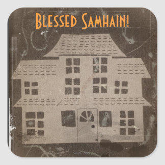 Antikvitet spökat hus Samhain Fyrkantigt Klistermärke