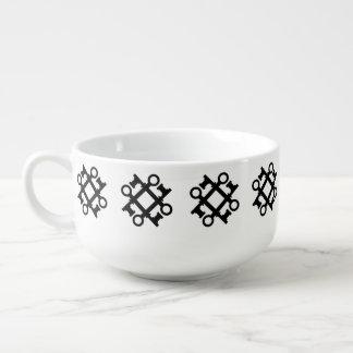 Antikviteten stämm silhouetten stor kopp för soppa