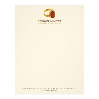 Antikviteter eller smyckenaffärsbrevhuvud brevhuvud