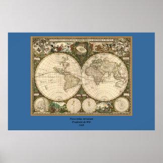 Antikvitetvärldskarta 1660 av Frederick de Poster