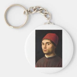 Antonello da Messina - porträtt av en man Rund Nyckelring