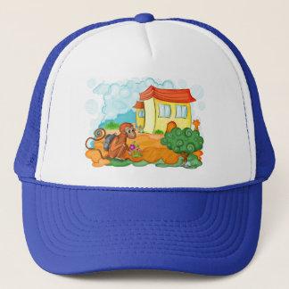 Apa med hatten för lång svan truckerkeps