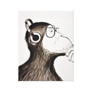 Apa och musik: Djur målning för party Canvastryck