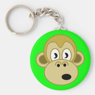 Apaansikte Keychain - grönt Rund Nyckelring