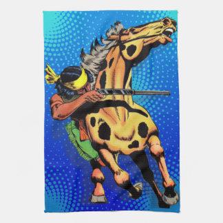Apache slinga #1, indian på hästrygg kökshandduk