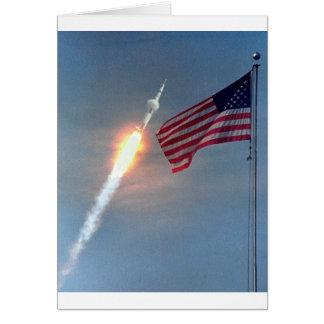 Apollo 11 barkass, med flagga, NASA Hälsningskort