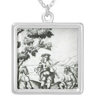 Apollo och panorerar silverpläterat halsband
