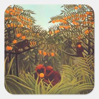 apor i den orange dungen fyrkantigt klistermärke