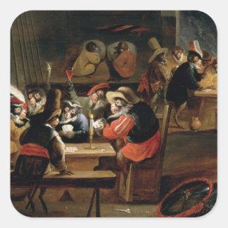 Apor i en krog, specificerar av kortspel fyrkantigt klistermärke