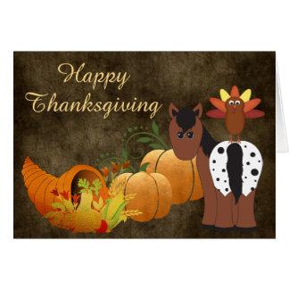 Appaloosahäst och Turkiet för happy thanksgiving Hälsningskort