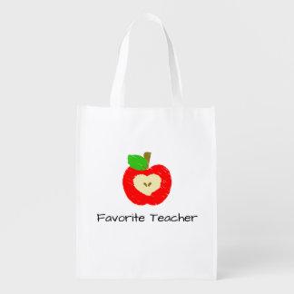 Apple för favorit- lärare återvinningsbar matkasse återanvändbar påse