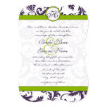 Apple - grön Lapis purpurfärgad damastast 12,7 X 17,8 Cm Inbjudningskort