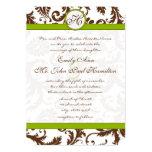 Apple - grönt & damastast bröllopinbjudan för 12,7 x 17,8 cm inbjudningskort