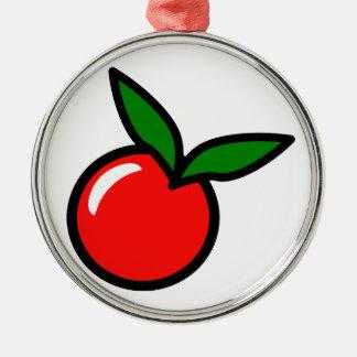 Apple körsbärtecknad julgransprydnad metall