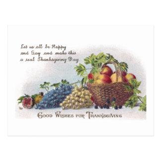 Äpple- och druvavintagethanksgiving vykort