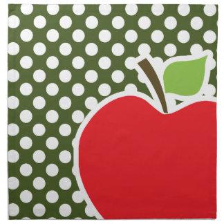 Apple på mörk Mossgröntpolka dots Tygservett