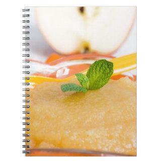 Applesauce med kanel och den orange skeden anteckningsbok