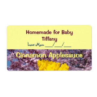 Applesauce på burk för namn för baby för fraktsedel