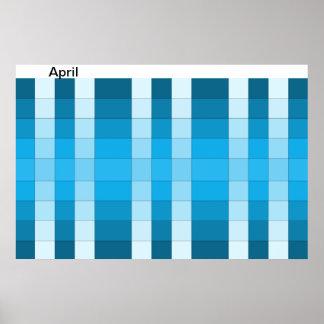 April för månad för färgregnbågeaffisch kalender 4 print