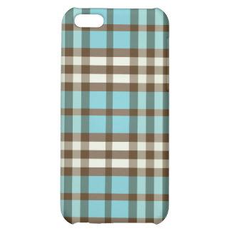 Aqua/choklad - brun pläd Pern iPhone 5C Skydd