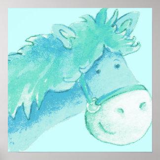 Aqua & grönt för ungeponnykonst kvadrerar affischt affischer