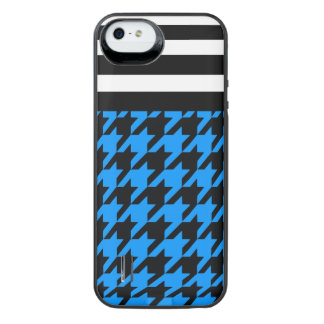 Aqua Houndstooth med randar 2 iPhone SE/5/5s Batteri Skal