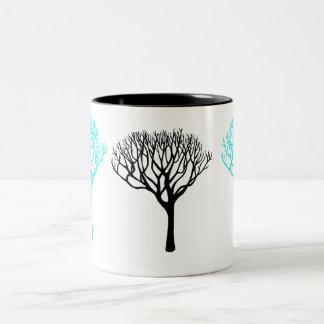 Aqua- och för svartmodträd Silhouette Två-Tonad Mugg