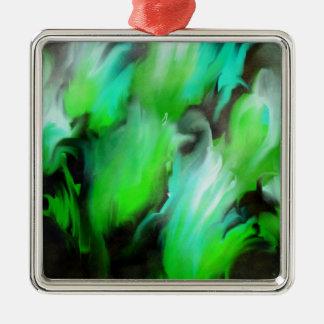 Aqua- och gröntblommor julgransprydnad metall