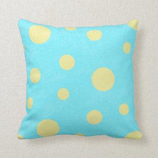 Aqua och gultpolkaen pricker mönster kudde