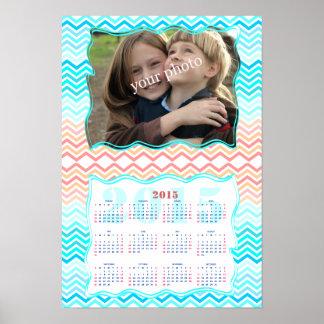 Aqua och solig kalender 2015 för strandsparrefoto