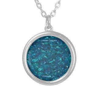 Aqua pryder med pärlor halsbandet silverpläterat halsband