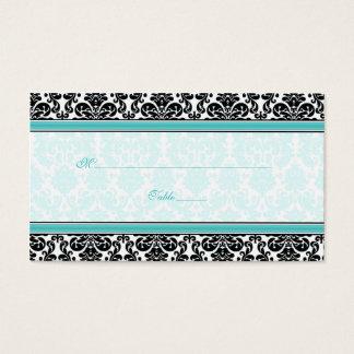 Aqua svart, för bröllopställe för vit damastast visitkort