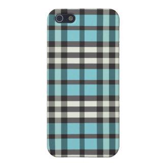 Aqua/svart pläd Pern iPhone 5 Skydd