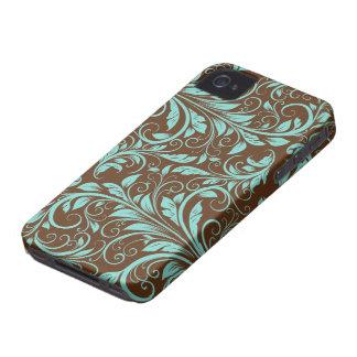 Aquablått och Chocholate brunt damastast mönster iPhone 4 Fodral