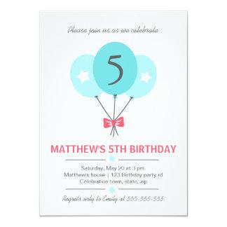 Aquablåttballonger och pilbågefödelsedagsfest 11,4 x 15,9 cm inbjudningskort
