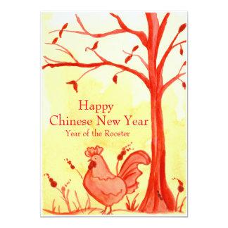 År av partyet för nytt år för tupp det kinesiska 12,7 x 17,8 cm inbjudningskort