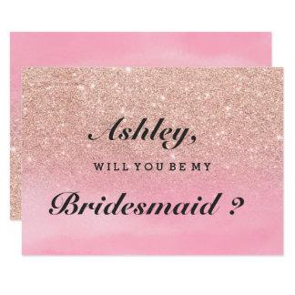 Är den rosa vattenfärgen för rosa guld- glitter 8,9 x 12,7 cm inbjudningskort