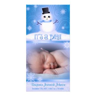 """""""Är det en pojke!"""", Baby med hjärtfelsnögubbe Hälsningskort Med Foto"""