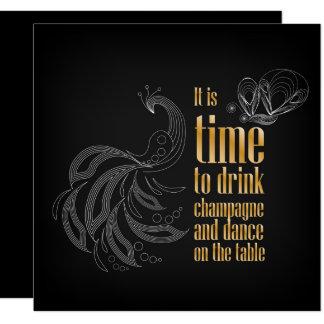 """""""Är det tid att dricka champagne, och dansen"""" Fyrkantigt 13,3 Cm Inbjudningskort"""