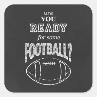 är du klar för någon fotboll? fyrkantigt klistermärke