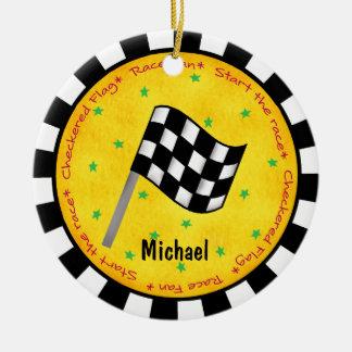 År för namn för flagga för fläkt för Auto tävling Julgransprydnad Keramik
